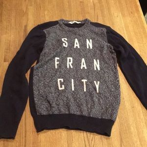 "H&M kid's sweater, says ""San Fran City"""